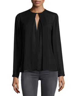 Salinas Flyaway-Front Blouse by J Brand Jeans in Jessica Jones