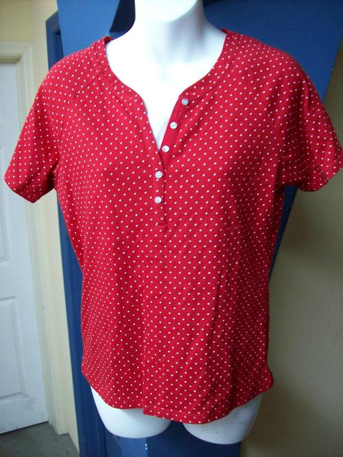 Red White Polka Dot Top Cami Blouse by Jason Maxwell in The Disappearance of Eleanor Rigby