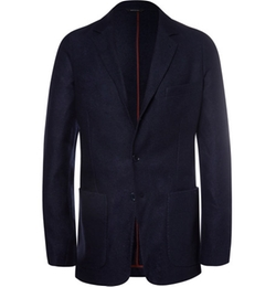 Navy Unstructured Suede-Trimmed Silk And Cashmere-Blend Blazer by Loro Piana in Empire
