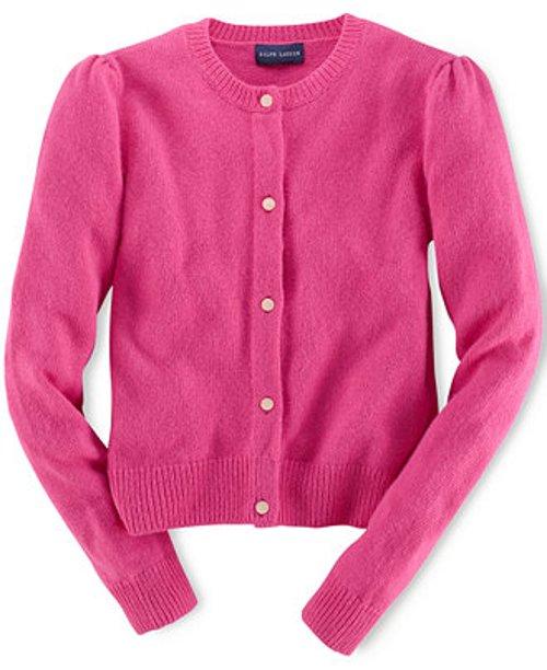 Girls' Solid Cashmere-Blend Cardigan by Ralph Lauren in Shutter Island