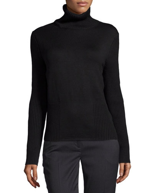 Ribbed-Knit Wool Turtleneck Sweater by Carolina Herrera in Survivor