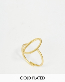 Gold Plated Adjustable Cut Out Circle Ring by Pilgrim in Scream Queens