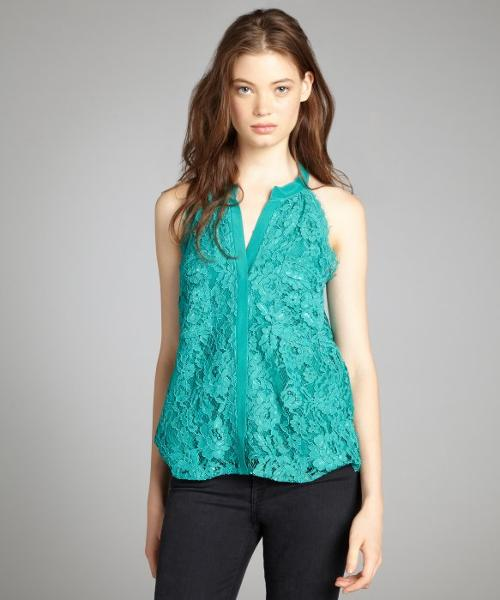 Emerald Lace Sleeveless Button Front Blouse by Gemma in The Other Woman