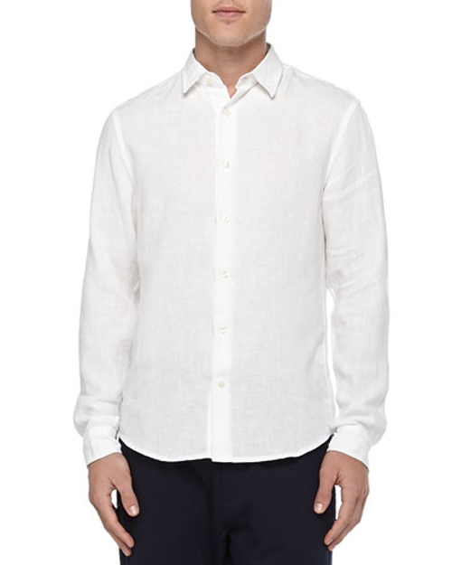 Button-Down Linen Chambray Shirt by Vince in Self/Less