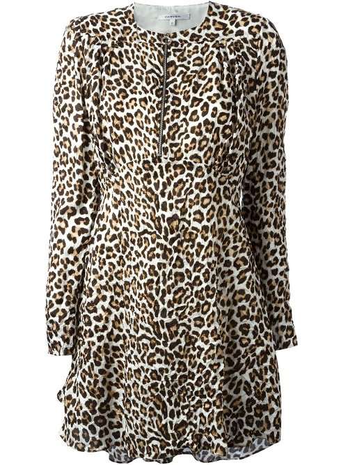 Gathered Leopard Print Dress by Carven in Fifty Shades of Grey