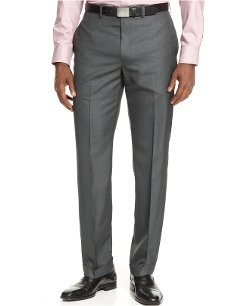 Flat-Front Grey Solid Slim-Fit Dress Pants by Calvin Klein in Vice