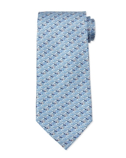 Duck-Print Silk Tie by Salvatore Ferragamo in Ballers