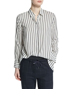 Button-Front Striped Shirt by Brunello Cucinelli in Mr. Robot