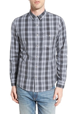 Trillium Trim Fit Plaid Woven Shirt by Treasure&Bond in Supernatural