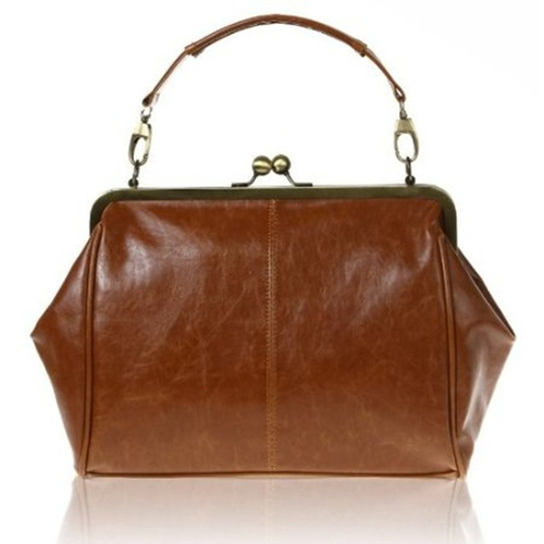 Kiss Lock Leather Brown Handle Shoulder Bag by Beauty Life in Bridge of Spies