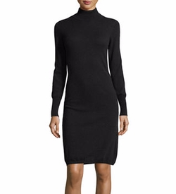 Cashmere Long-Sleeve Turtleneck Dress by Neiman Marcus Cashmere Collection in Power
