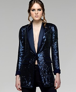 Cropped Navy Sequin Tailed Tuxedo Jacket by Custom in Pitch Perfect 2