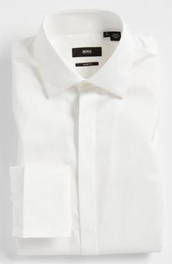 'Marlyn' Sharp Fit Stripe Tuxedo Shirt by Boss Hugo Boss in Bridge of Spies