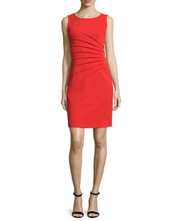 Sleeveless Sunburst-Pleated Sheath Dress by Carmen by Carmen Marc Valvo in Fuller House