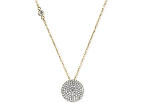 Crystal Pavé Disc Pendant Necklace by Michael Kors in The DUFF