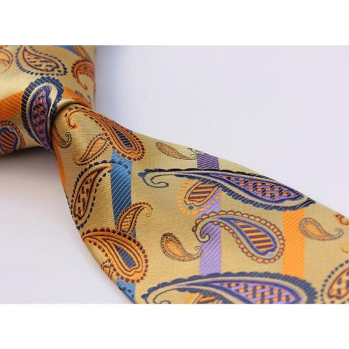 Yellow Gold Blue Floral Stripe Silk Tie by Dapper World in Anchorman 2: The Legend Continues