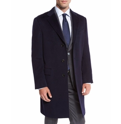 Cashmere Single-Breasted Topcoat by Neiman Marcus in Power