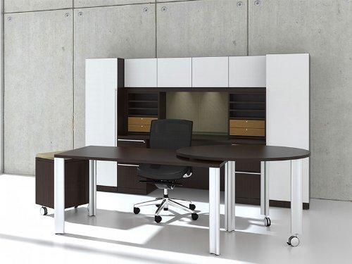 Rectangular Glass Door Modern Executive Office Desk Set by UTM in Fifty Shades of Grey