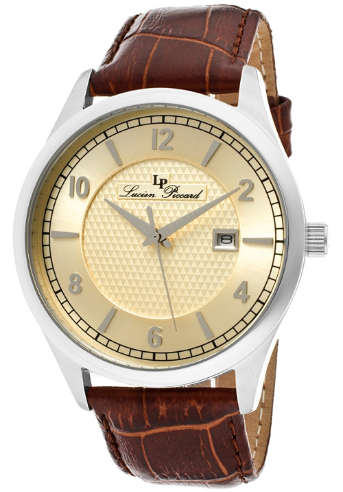 Genuine Leather Champagne Dial Watch by Lucien Piccard in Dope