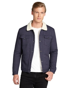 Snap Button Faux Shearling Lining Jacket by Slate & Stone in Krampus