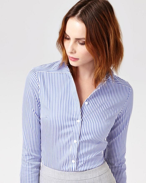 Bengal Stripe Cotton Shirt by Austin Reed in Supergirl