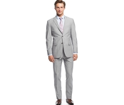 Light Grey Sharkskin Slim-Fit Suit by Perry Ellis in Fight Club