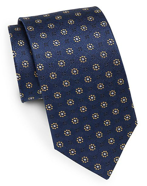 Dotted Floral-Print Silk Tie by Yves Saint Laurent in The Blacklist