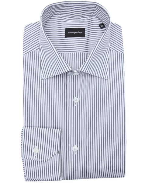 Grey Stripe Cotton Spread Collar Dress Shirt by Ermenegildo Zegna in Suits
