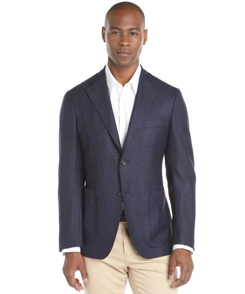 Check Wool Two-Button Blazer by Canali in The Gunman