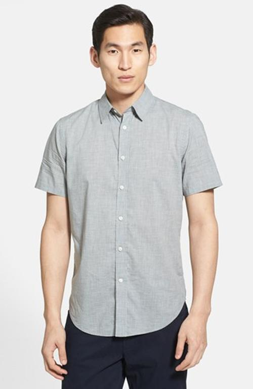 Regular Fit Short Sleeve Chambray Sport Shirt by Vince in The Judge