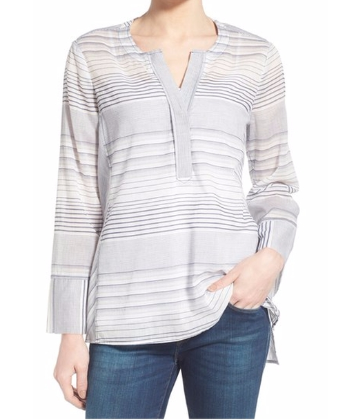 Regatta Stripe Split Neck Tunic Top by NYDJ in The Good Wife - Season 7 Episode 22