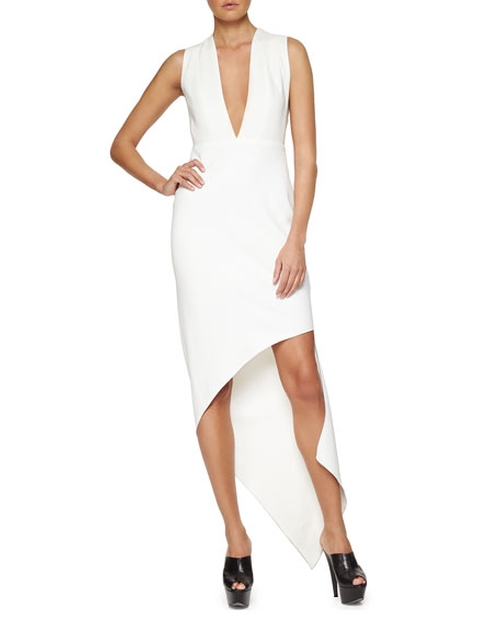 Plunging Asymmetric Crepe Dress by Narciso Rodriguez in Urge