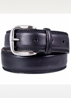 Black Smooth Leather Belt by Manieri in The D Train