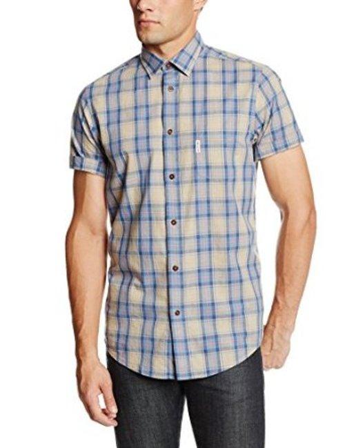 Men's Short Sleeve Marl Tartan Check Woven Shirt by Ben Sherman in Hall Pass