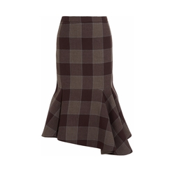 Asymmetric Checked Wool Skirt by Balenciaga in Suits