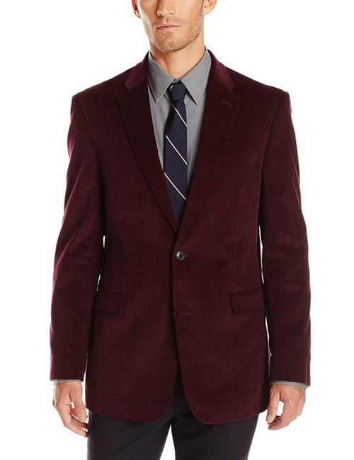 Men's Burgundy Corduroy Blazer by Tommy Hilfiger in Quantico