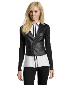 Knit-Paneled Faux Leather Moto Jacket by BCBGMAXAZRIA in Vice