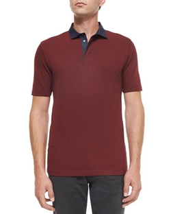 Chambray-Collar Short-Sleeve Polo Shirt by Armani Collezioni  in New Girl