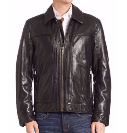 Shirt Collar Leather Jacket by Andrew Marc in Suicide Squad