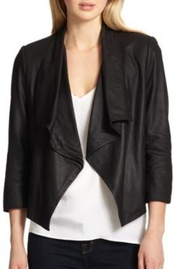 Colton Draped Leather Jacket by Alice + Olivia in Animal Kingdom