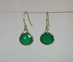 Yellow Gold Green Onyx Earrings by Kyle Chan Design in La La Land