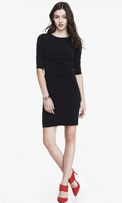 Black Side Ruched Sheath Dress by Express in She's Funny That Way