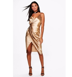 Gaynor Satin Wrap Strappy Midi Dress by Boohoo in Girls Trip