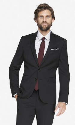 Wool Blend Innovator Suit Jacket by Express in Black or White