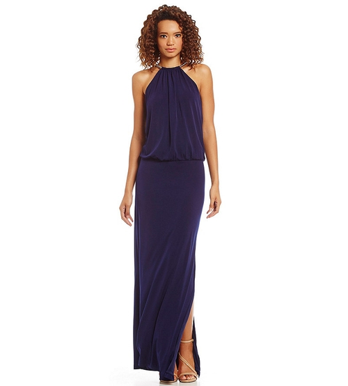 Halter Neckline Blouson Maxi Dress by Jessica Simpson in The Forest