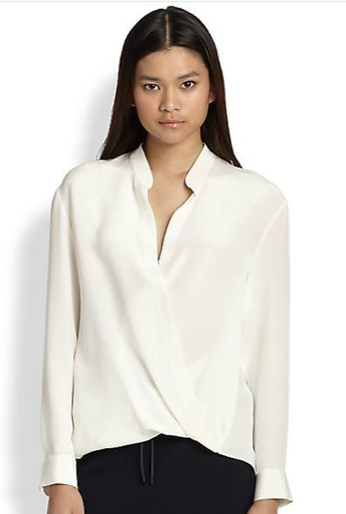 Silk Draped Crossover Blouse by Phillip Lim in That Awkward Moment