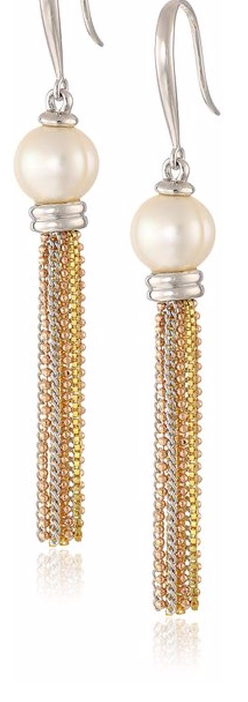 Bronze Freshwater Cultured Pearl Tassel Drop Earrings by Honora  in Fuller House - Season 1 Episode 10