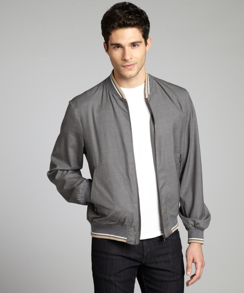 Grey Wool Zip Front Baseball Jacket by Prada in Nightcrawler
