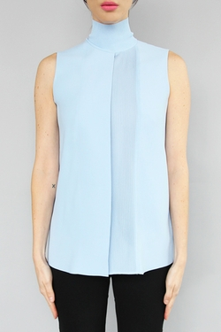 Lasercut Sleeveless Turtleneck Top by Vince in Chelsea