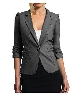 Womens Fitted Sleeve Blazer Jacket by LE3NO in If I Stay